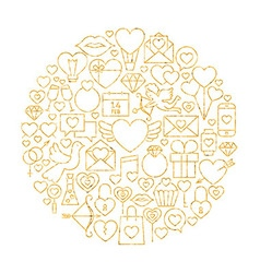 Gold happy valentine day holiday line icons set vector
