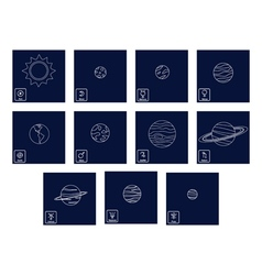 Icon set with planets and astrology symbols of pl vector