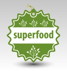 Green superfood stamp tag label vector