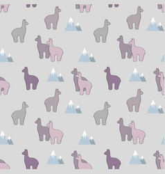 Alpaca stylized seamless pattern vector