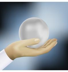 Ball on the hand vector