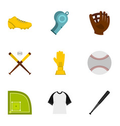 Baseball icons set flat style vector