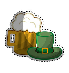 Beer glass with foth and st patrick hat vector