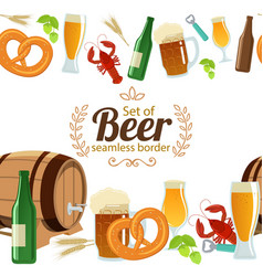 Beer seamless horizontal border vector