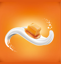 caramel candy lying on milk tongue vector image vector image
