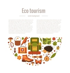 Cartoon eco tourism icons camping set vector