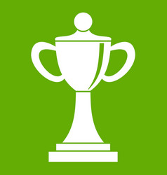 Championship cup icon green vector