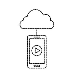 cloud computing smartphone player button vector image
