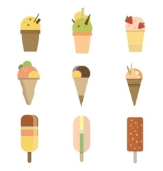 Collection of 9 icon ice cream vector image vector image