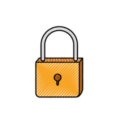 Colored crayon silhouette of padlock icon vector