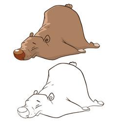 cute brown bear cartoon charact vector image vector image