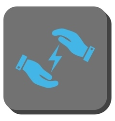 Electricity supply care hands rounded square vector