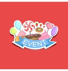 Event template label cute sticker with sweets vector