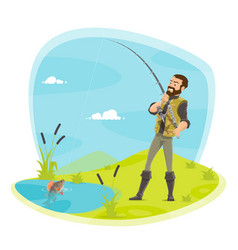 fisherman fishing and fish catch at lake vector image