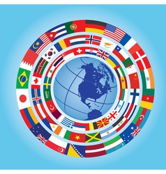 flags around globe vector image vector image