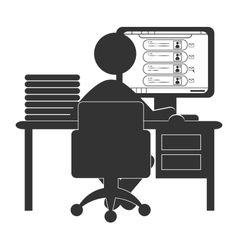Flat computer icon with social network website vector
