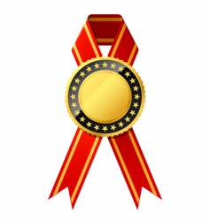 gold badge with red ribbon vector image vector image