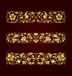 Golden calligraphic ornaments vector