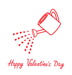 Happy valentines day love watering can with red vector