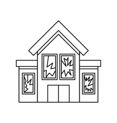House with broken windows icon outline style vector