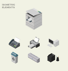 Isometric business set of computer garbage vector
