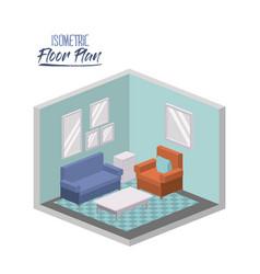 isometric floor plan of living room interior vector image