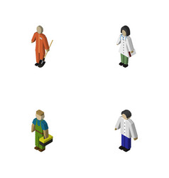 isometric human set of cleaner doctor plumber vector image