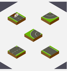 Isometric way set of road without strip upwards vector