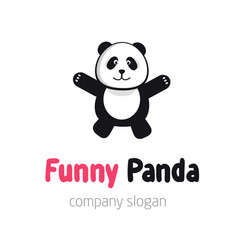 Panda bear logo or badge template flat design vector