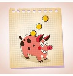 Piggy bank note paper cartoon sketch vector