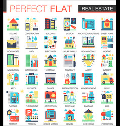 real estate complex flat icon concept vector image vector image