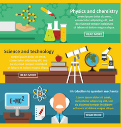 Science tech banner horizontal set flat style vector