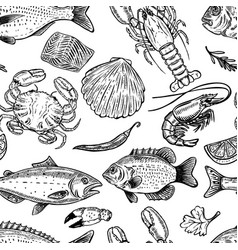 seafood hand drawn seamless pattern design vector image