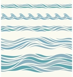 Set seamless pattern with stylized blue waves vector image vector image