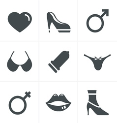 Sex And XXX Icons Set Design vector image vector image