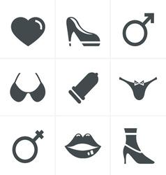 Sex and xxx icons set design vector