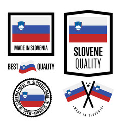 Slovenia quality label set for goods vector