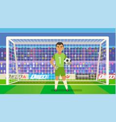 Soccer goalkeeper keeping goal on arena vector