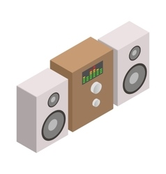 Sound system icon isometric 3d style vector