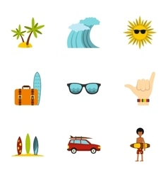 Swimming on surf icons set flat style vector