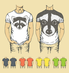 T-shirts templates with prints of animals vector
