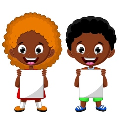 two cute children holding blank sign vector image vector image
