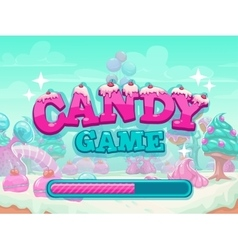 Candy game title loading screen vector