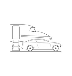 Private jet and car vector