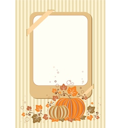 Retro autumn card with pumpkin vector