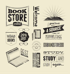 Set of vintage design elements for bookstore vector