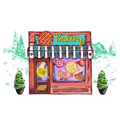 Bakery cafe windows composition vector