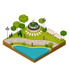 Isometric fragment of park landscape vector