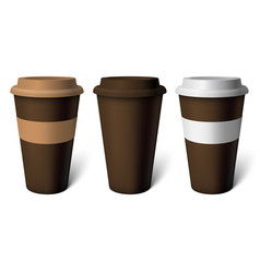 Mockup brown coffee cup vector