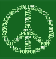 Peace for all green bg vector